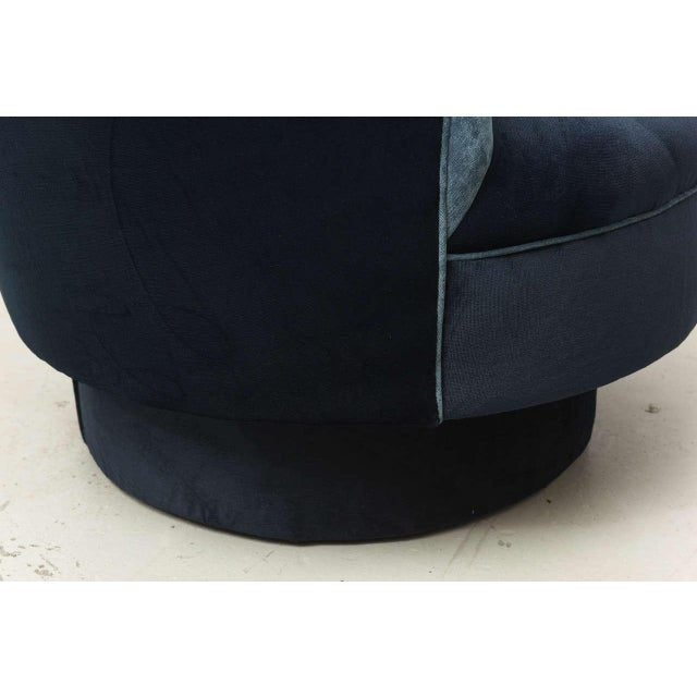 Blue Two-Toned High-Back Adrian Pearsall Swivel Chair in Velvet, 1960s, Usa For Sale - Image 8 of 8