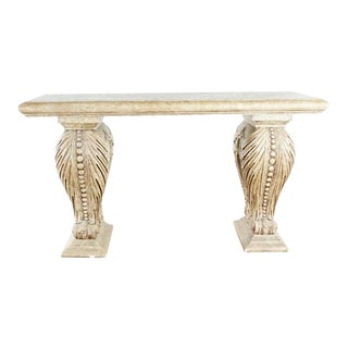 Vintage Faux Stone Console Table For Sale