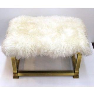 Mid Century Modern Brass & Sheepskin Bench Preview