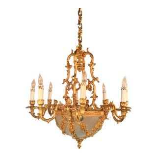 Myran Allen Luxury Lighting Empire Style Italian Bronze Ormolu Fire Gilt and Etched Glass Chandelier For Sale