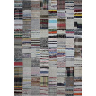 """Hand Knotted Patchwork Rug - 13'0"""" X 9'10"""" For Sale"""