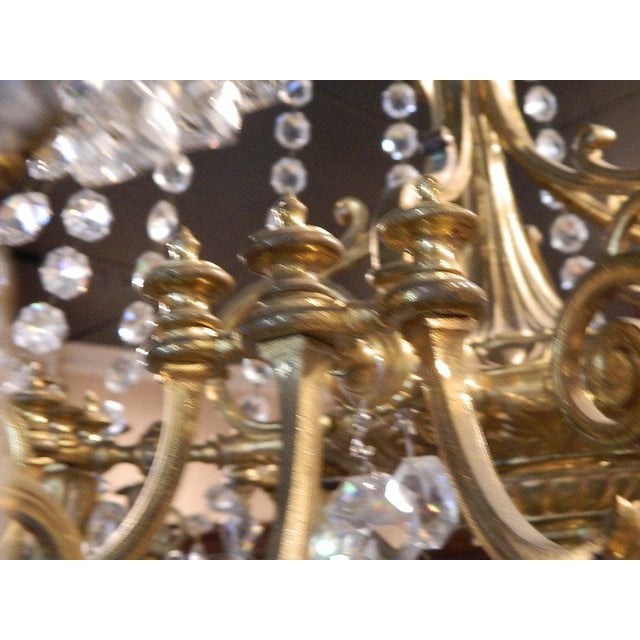 French Bronze Dore Eighteen Candle Chandelier With Crystals, 19th Century For Sale - Image 9 of 11