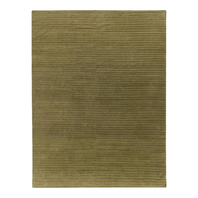 Contemporary Wool Hand Knotted Olive Green Rug - 10' X 13' For Sale