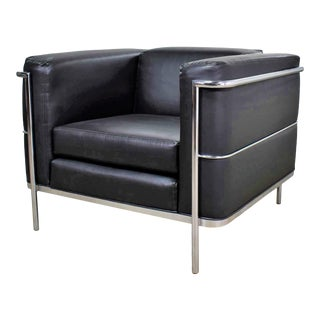 Vintage Jack Cartwright 20/123 Club Chair in Black Faux Leather After Corbusier Lc2 For Sale