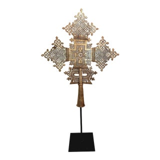Mid 20th Century Large Ethiopian Coptic Processional Metal Cross on Black Metal Stand For Sale