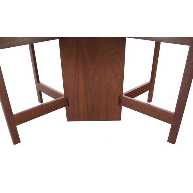 Wood George Nelson Walnut Drop Leaf Dining Table Gate Leg For Sale - Image 7 of 10