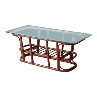 Mid-Century Rattan Coffee Table For Sale