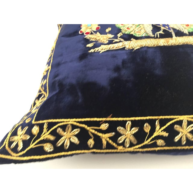 Mid Century Velvet Blue Silk Pillow Embroidered With Gold Peacock For Sale - Image 4 of 11