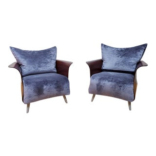 Mid Century Modern Keilhauer Belle by Tom McHugh Bentwood Lounge Chairs Newly Upholstered - Pair For Sale