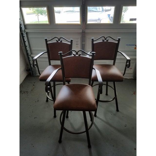 Swivel Leather & Metal Bar Stools - Set of 3 - Image 10 of 10