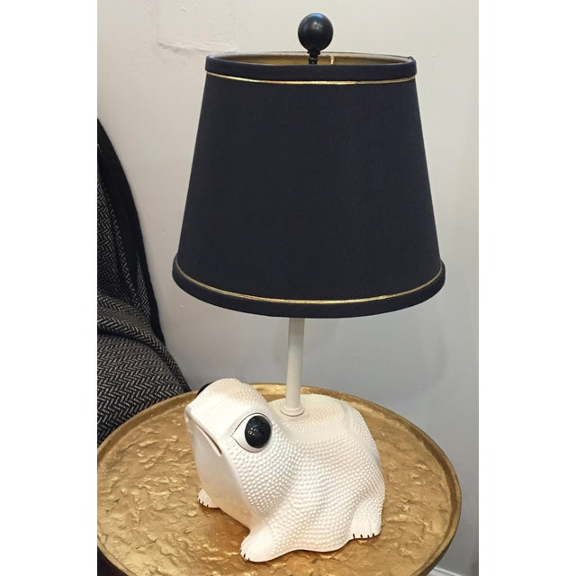 Unique porcelain Italian frog lamp with chic black silk trimmed shade. circa 1960