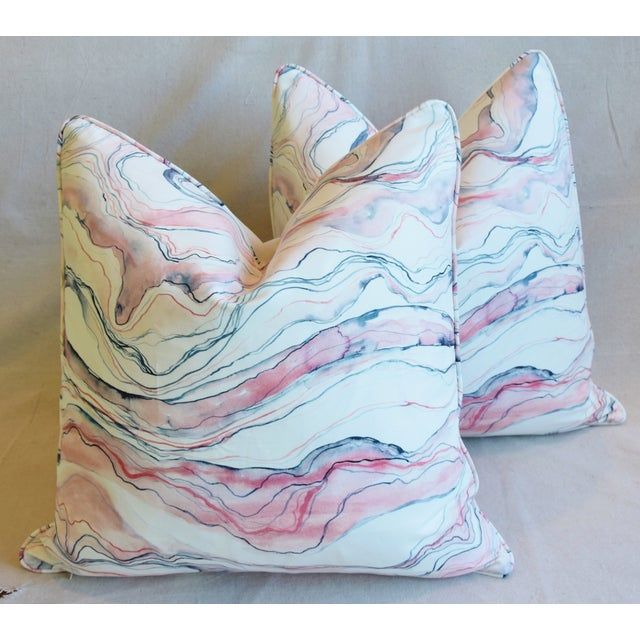 "Cotton Modern Blush-Pink Marbleized Feather/Down Pillows 22"" Square - Pair For Sale - Image 7 of 13"