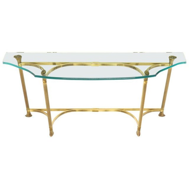 Bent Brass Base Curved Glass Top Figural Console Sofa Table For Sale - Image 13 of 13