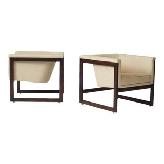 milo baughman floating club chairs - a pair For Sale