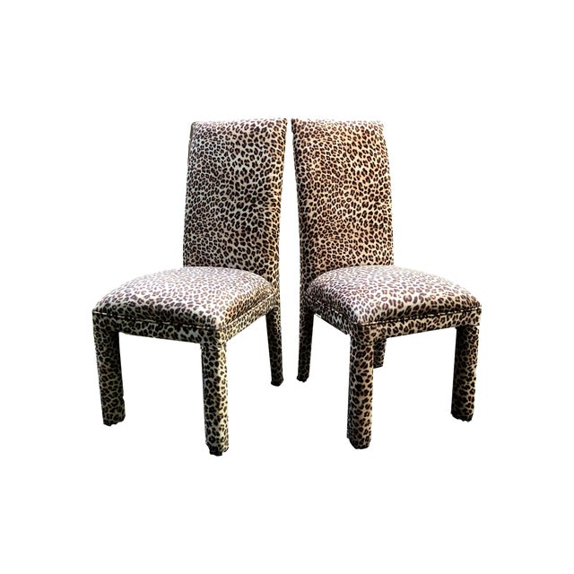 Leopard Print Parsons Dining Chairs - Set of 2 For Sale