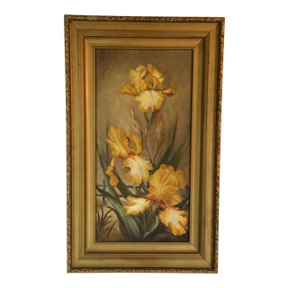 "1976 Vintage Oil On Canvas ""Iris"" Framed Painting by Ruth King For Sale"