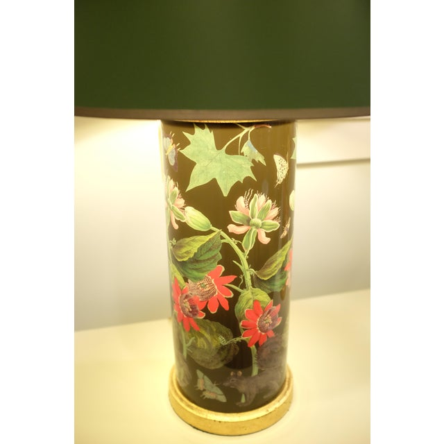 Traditional Decoupage Flower Lamp With Green Painted Shade For Sale - Image 3 of 12