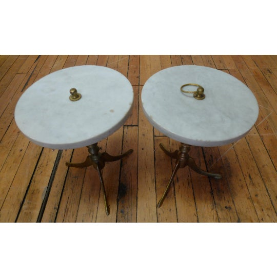 Brass Vintage Round Marble and Brass Tea Tables - a Pair For Sale - Image 8 of 8