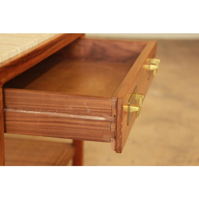 Mid 20th Century Gerry Zanck for Gregori Mid-Century Walnut & Travertine Side Table For Sale - Image 5 of 11