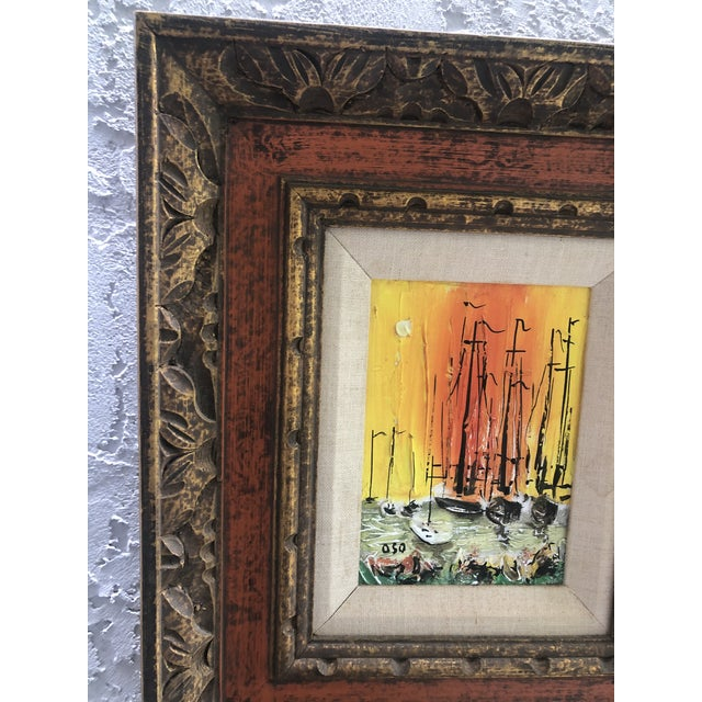 1970s Style Modern Ships Small Painting For Sale In Miami - Image 6 of 11