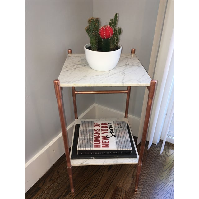 Handmade Copper & Marble Side Table - Image 5 of 6