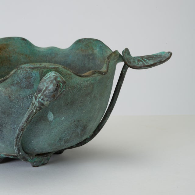 Gold Tiffany Studios Bronze Bowl With Verdigris Finish For Sale - Image 8 of 10