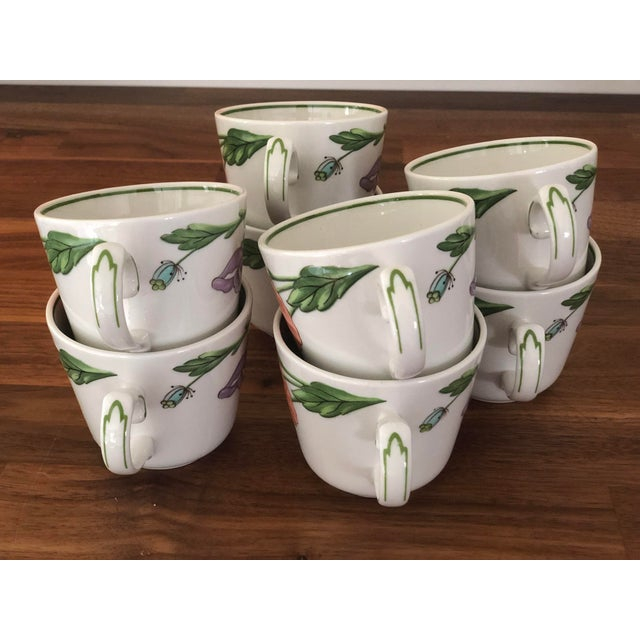 White 1980s Villeroy & Boch Amapola Cup & Saucers - Set of 8 For Sale - Image 8 of 11
