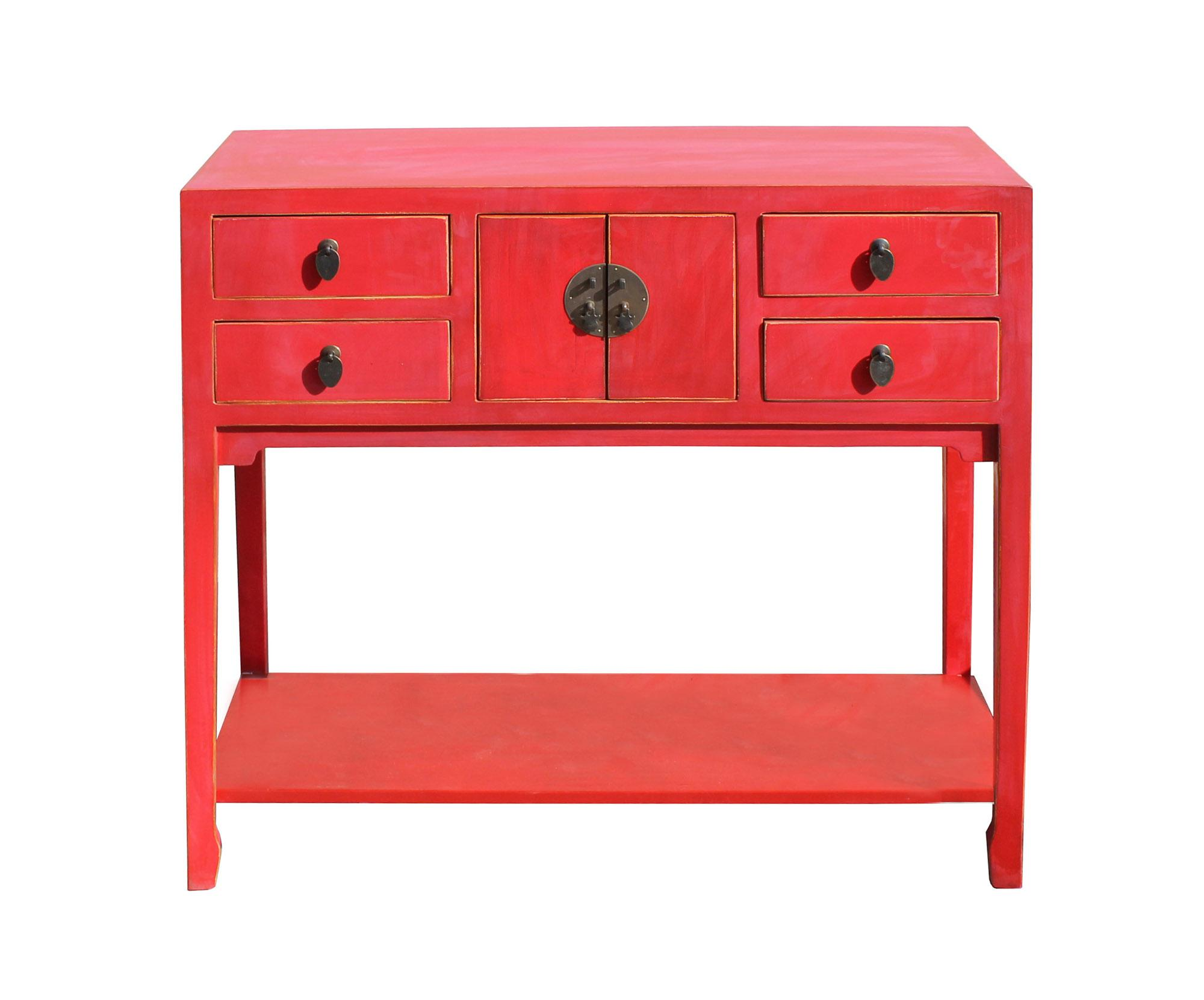 This is a simple rose red color finish wood side foyer table with 4 storage drawers  sc 1 st  Chairish & Chinese Matte Rose Red Wood Plain 4 Drawers Side Table | Chairish