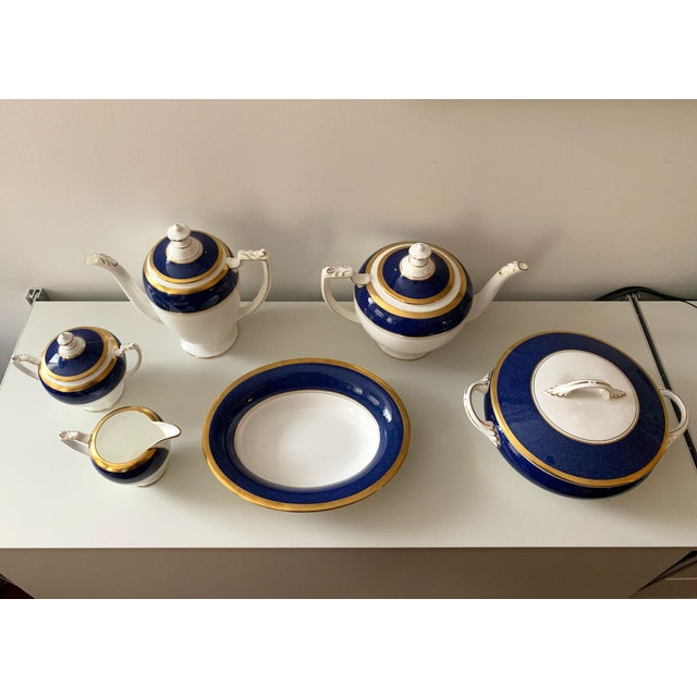 1980s Athlone Blue and Gold Coalport China Tea Service - Set of 10 For Sale - Image 5 of 9
