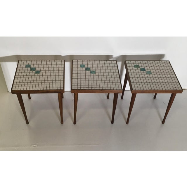 Mid-Century Tile Top Walnut Stacking Tables - Image 10 of 10