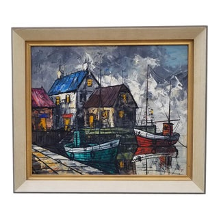 1970s Vintage Yaye Framed Nautical Oil on Canvas Painting For Sale
