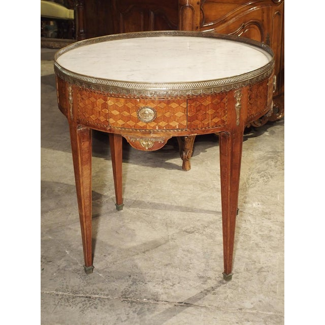 French 19th Century French 4-Drawer Marble Top Bouillote Table For Sale - Image 3 of 13