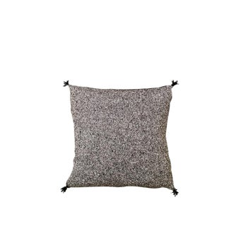 """Transitional Talini 16"""" Black Wool Tweed Pillow With Leather Tassels For Sale"""