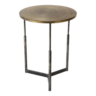 Custom Steel and Brass Side Table For Sale