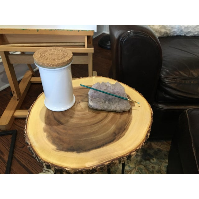 Boho Chic Teak Wood Natural and Metal Accent Side Table For Sale - Image 4 of 6