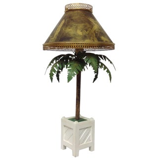 Maison Bagues Large French Potted Palm Table Lamp W Metalic Shade