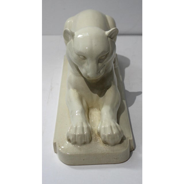 Art Deco Art Deco 1930's White Panther Sculpture For Sale - Image 3 of 13