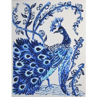 Chinoiserie Peacock Bird Painting by Cleo Plowden For Sale