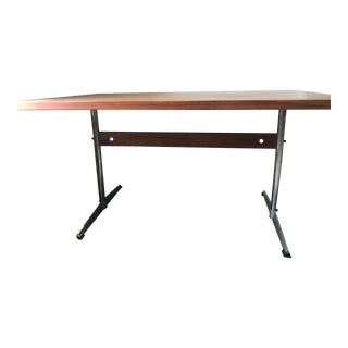 1970s Industrial Style Wooden Writing Desk For Sale