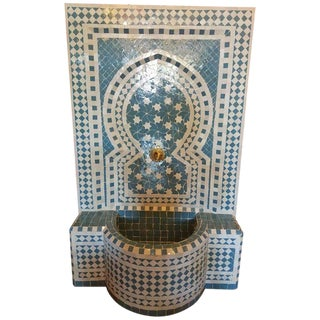 Modern Moroccan Turquoise & White Mosaic Tile Fountain For Sale