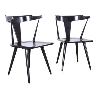 Paul McCobb Planner Group T-Back Black Lacquered Solid Maple Dining Chairs - a Pair For Sale