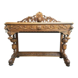 Antique French Carved Bleached Oak Console Sofa Table For Sale