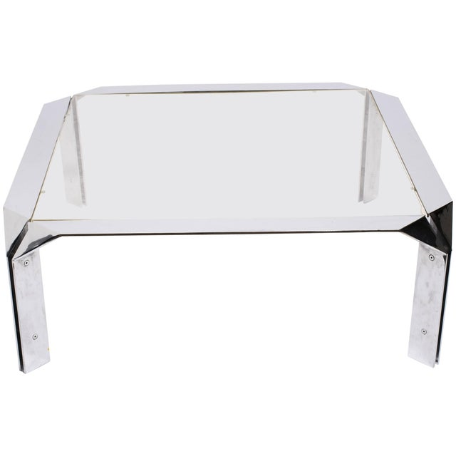 Transparent Design Institute of America Chrome Coffee Table For Sale - Image 8 of 8