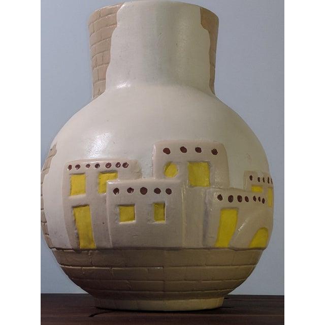 1900s Southwestern Pueblo Cactus and Exposed Brick Ceramic Pottery 3D Vase For Sale - Image 4 of 9