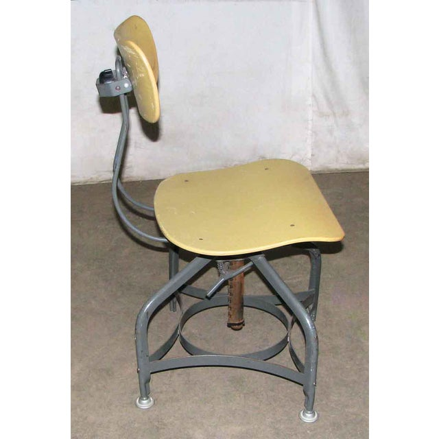 Industrial Vintage Toledo Industrial Adjustable Yellow Stool For Sale - Image 3 of 4
