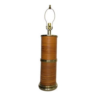 Vintage Wrapped Rattan Column Lamp For Sale