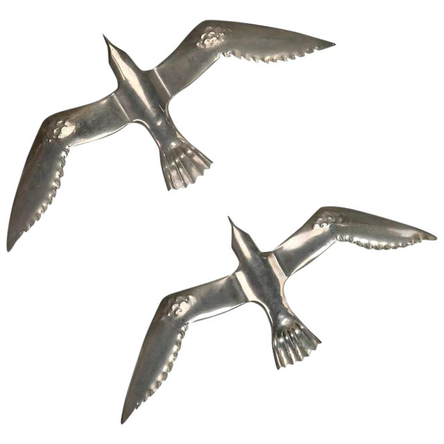 Pair Mid Century Aluminum Winged Gull Wall Lights or Sculptures For Sale