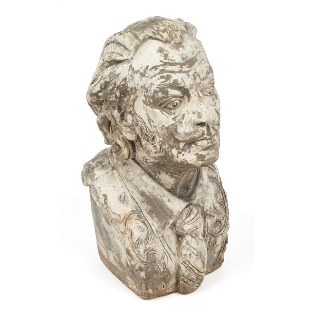 French Salvador Dali Vintage Stone Sculpture Bust For Sale - Image 3 of 10