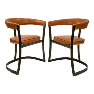 Blackened Steel and Terra-Cotta Leather Barrel Chairs - a Pair For Sale