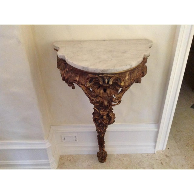 Early 20th Century 20th Century French Giltwood Console With Marble Top For Sale - Image 5 of 5